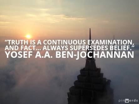 Truth is a continuous examination and fact...always supersedes belief.