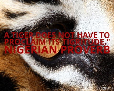 A tiger does not have to proclaim its tigritude.